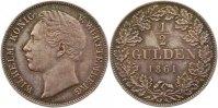 1/2 Gulden 1861 Württemberg Wilhelm I. 1816-1864. 26: vorzüglich +  95,00 EUR  zzgl. 4,00 EUR Versand