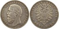 5 Mark 1876  G Baden Friedrich I. 1856-1907. Schön - sehr schön  52,00 EUR  +  4,00 EUR shipping