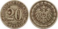 20 Pfennig 1892  J Kleinmünzen  Fleckige Patina, sehr schön  30,00 EUR