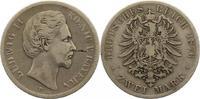 2 Mark 1876  D Bayern Ludwig II. 1864-1886. Schrötlingsfehler, schön - ... 30,00 EUR  zzgl. 4,00 EUR Versand