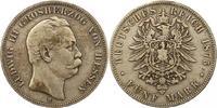 5 Mark 1875  H Hessen Ludwig III. 1848-1877. Schön - sehr schön  85,00 EUR  zzgl. 4,00 EUR Versand