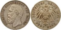 5 Mark 1902  G Baden Friedrich I. 1856-1907. Randfehler, sehr schön  85,00 EUR  zzgl. 4,00 EUR Versand