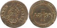 Pfennig 1758 Münster-Stadt  Sehr schön - vorzüglich  32,00 EUR  zzgl. 4,00 EUR Versand