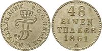 1/48 Taler 1861  A Mecklenburg-Schwerin Friedrich Franz II. 1842-1883. ... 15,00 EUR  zzgl. 4,00 EUR Versand