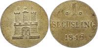 Sechsling 1846 Hamburg, Stadt  Vorzüglich +  20,00 EUR  zzgl. 4,00 EUR Versand