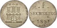 Sechsling 1851 Hamburg, Stadt  Vorzüglich +  20,00 EUR  zzgl. 4,00 EUR Versand