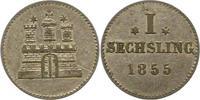 Sechsling 1855 Hamburg, Stadt  Vorzüglich  10,00 EUR  zzgl. 4,00 EUR Versand