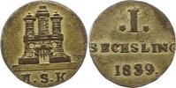 Sechsling 1839 Hamburg, Stadt  Sehr schön  10,00 EUR  zzgl. 4,00 EUR Versand