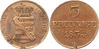 3 Pfennig 1834  G Sachsen-Albertinische Linie Anton 1827-1836. Randfehl... 42,00 EUR  zzgl. 4,00 EUR Versand
