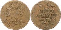 3 Pfennig 1761  A Brandenburg-Preußen Friedrich II. 1740-1786. Randfehl... 12,00 EUR  zzgl. 4,00 EUR Versand