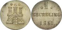 Sechsling 1851 Hamburg, Stadt  Vorzüglich +  22,00 EUR  zzgl. 4,00 EUR Versand