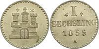Sechsling 1855 Hamburg, Stadt  Stempelglanz  45,00 EUR  zzgl. 4,00 EUR Versand