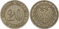 20 Pfennig 1892  F Kleinmünzen  Sehr schön  30,00 EUR  zzgl. 4,00 EUR Versand