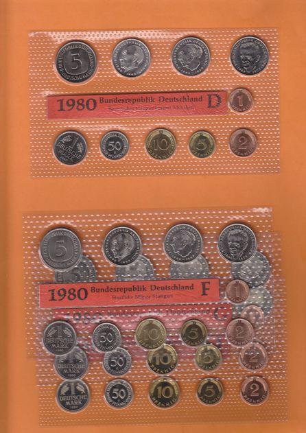 42,72 DM 1980 BRD 4 Kursmünzensätze 1980 (kompl.) D,F,G,J Stempelglanz OBH Stempelglanz Original Bad Homburg