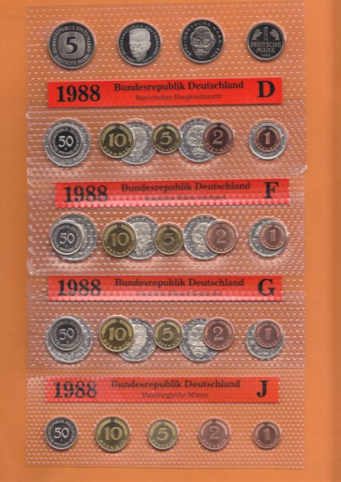 BRD 5 Kursmnzenstze 1988 (kompl.)A,D,F,G,J  Stempelglanz OBH 42,72 DM 1988 Stempelglanz Original Bad Homburg 