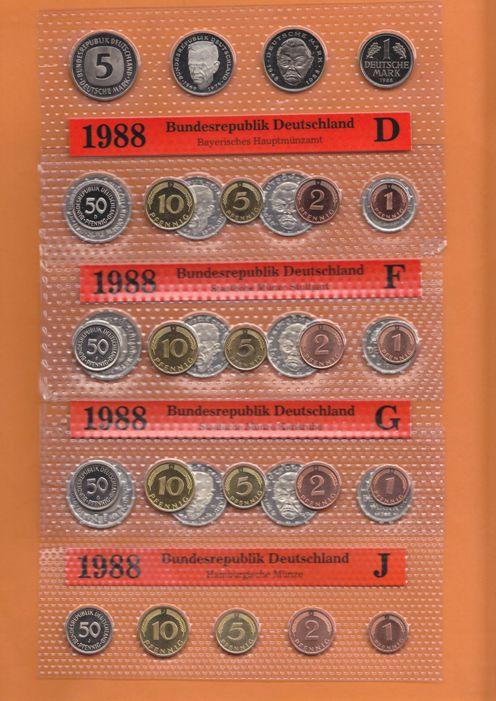 42,72 DM 1988 BRD 5 Kursmünzensätze 1988 (kompl.)A,D,F,G,J Stempelglanz OBH Stempelglanz Original Bad Homburg