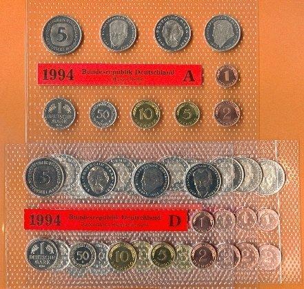 63,40 DM 1994 BRD 5 Kursmünzensätze 1994 (kompl.)A,D,F,G,J Stempelglanz OBH Stempelglanz Original Bad Homburg