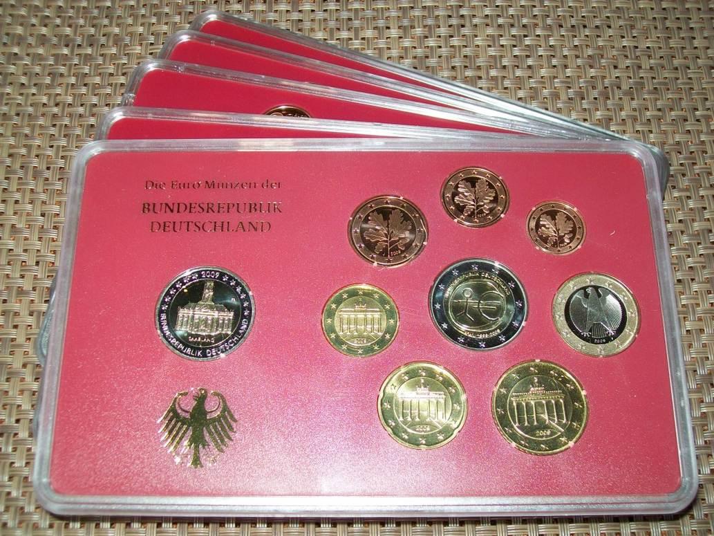 5 x 5,88 Euro 2009 BRD 5 Kursmünzensätze 2009 (kompl.) A,D,F,G,J PP - Saarland Polierte Platte Proof PP