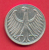 BRD (WOL) BRD 5 DM J. 387 Adler 1959 G 5 DM 1959 G fast vorzglich 