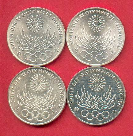 4 x 10 DM 1972 BRD Olympiade München - Feuer D,F,G,J Stempelglanz st