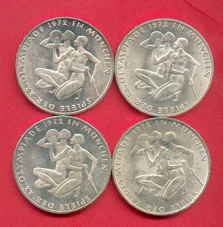 4 x 10 DM 1972 BRD Olympiade München - Sportler D,F,G,J Stempelglanz st