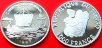 1000 Francs 1997 Kongo Römisches Frachtschiff, Seefahrt Polierte Platte... 29,00 EUR