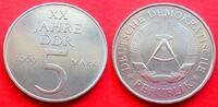 5 Mark 1969 DDR XX Jahre DDR, Cu-Ni Probe Stempelglanz  26,00 EUR  zzgl. 5,00 EUR Versand
