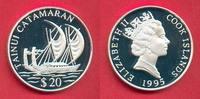 20 Dollar 1995 Cook Islands Katamaran, Seefahrt Polierte Platte Proof PP  22,00 EUR