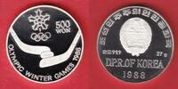 500 Won 1988 Nordkorea Eishockey - Olympiade 1988 Calgary Polierte Plat... 15,00 EUR