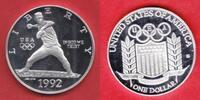1 Dollar 1992 USA Olympiade 1992 Barcelona, Baseball Polierte Platte Pr... 17,00 EUR  zzgl. 5,00 EUR Versand