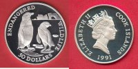 Cook Islands 50 Dollar Brillenpinguin, Tierwelt, WWF, Endangered Wildlife