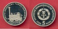 5 Mark 1988 DDR Saxonia Eisenbahn Polierte Platte offen, Proof PP  70,00 EUR  zzgl. 5,00 EUR Versand