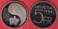 5 Franken 1984 Schweiz Auguste Piccard Polierte Platte Proof, PP  10,00 EUR  zzgl. 5,00 EUR Versand
