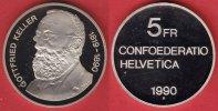 5 Franken 1990 Schweiz Gottfried Keller Polierte Platte Proof, PP  10,00 EUR
