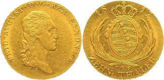 10 Taler (Doppelter August d´or) 1817 Sachsen, Königreich Friedrich August I. (1806-1827, Kurfürst seit 1763 als Friedrich August III.) minimal justiert, gutes vorzüglich