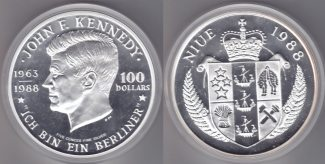 Nive    100$ 1988 Kennedy 5oz Ag proof