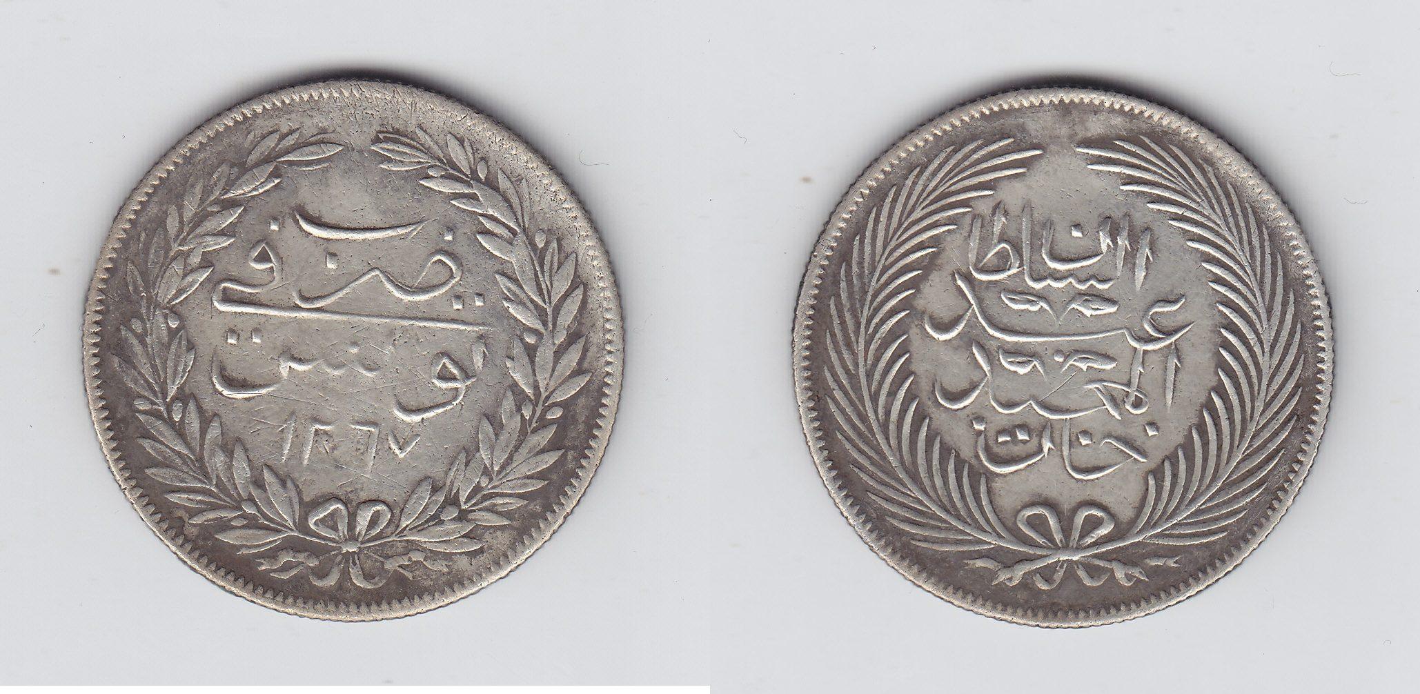 Tunis 5 Piaster 1267AH ss