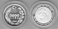 Türkei  5000 Lira 1984Frauenjahr proof