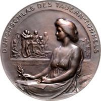 Bronzemedaille, einseitig 1907 Jugendstil ...