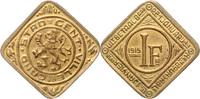 1 Franken 1915 Nebengebiete - Notmünzen der Stadt Gent  vz, vergoldet  525,00 EUR  zzgl. 6,50 EUR Versand