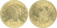 10 Dollars 1907 USA Liberty VF kl.Sf.u.Kr.  750,00 EUR  zzgl. 6,50 EUR Versand