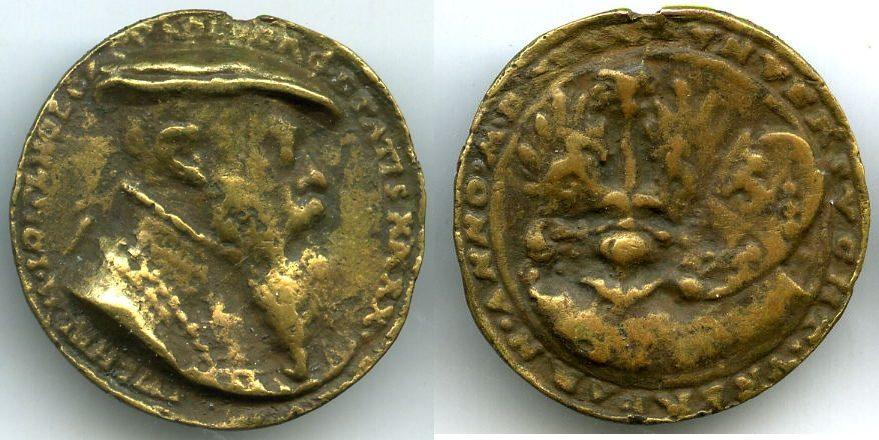 Medaille (1541) Altdeutschland ~ Nürnberg / Kriegs - und Staatsmann Wilhelm Löffelholz von Kollberg ~ ~ fast ss mit Henkelspur