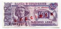 Albanien 100 Leke ~ Albania / SPECIMEN 000000 Serie mit KN gestempelt ~