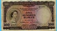 100 Rupees, 1954, Ceylon,  III-IV,  220,00 EUR