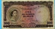 100 Rupees, 1954, Ceylon,  III-IV,  245,00 EUR  +  7,00 EUR shipping