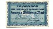 20 Millionen Mark, 15.08.1923, Solingen, Gebr.Krusius AG, III,  65,00 EUR58,50 EUR  +  7,00 EUR shipping