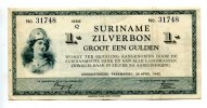 1 Gulden, 1942, Surinam,  III,  145,00 EUR  +  7,00 EUR shipping