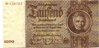 1000 Mark 1936 Deutsches Reich,  II,  155,00 EUR  +  7,00 EUR shipping