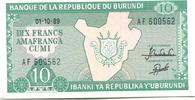 10 Francs 1989 Burundi,  Unc  150 руб 2,00 EUR  +  523 руб shipping