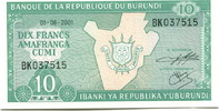10 Francs 2001 Burundi,  Unc  150 руб 2,00 EUR  +  523 руб shipping
